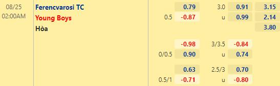 Tỷ lệ kèo bóng đá giữa Ferencvarosi TC vs Young Boy
